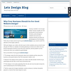 Why Your Business Should Go For Good Website Design?