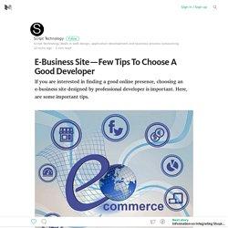 E-Business Site — Few Tips To Choose A Good Developer