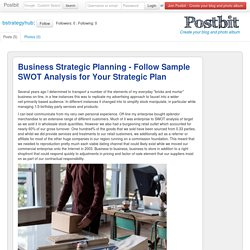 Business Strategic Planning - Follow Sample SWOT Analysis for Your Strategic Plan
