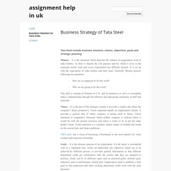 Business Strategy of Tata Steel - assignment help in uk