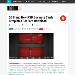 20 Brand New PSD Business Cards Templates For Free Download