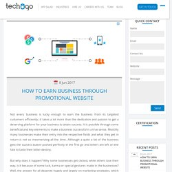 HOW TO EARN BUSINESS THROUGH PROMOTIONAL WEBSITE