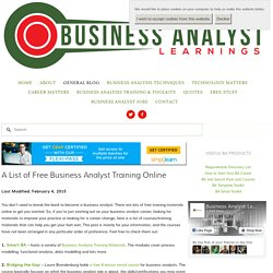 A List of Free Business Analyst Training Online — Business Analyst Learnings