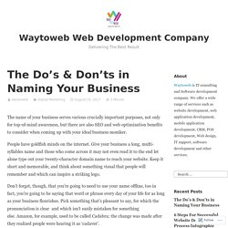 The Do's & Don'ts in Naming Your Business