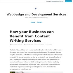 How your Business can Benefit from Content Writing Services