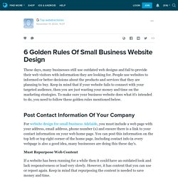 6 Golden Rules Of Small Business Website Design: ext_5579523 — LiveJournal