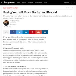 business - Paying Yourself: From Startup and Beyond