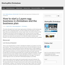 How to start a Layers egg business in Zimbabwe and the business plan
