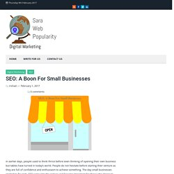 SEO: A Boon For Small Businesses – SEO Blog, Inbound Marketing, Digital Marketing