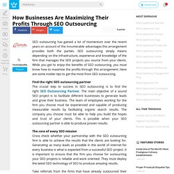 How Businesses Are Maximizing Their Profits Through SEO Outsourcing