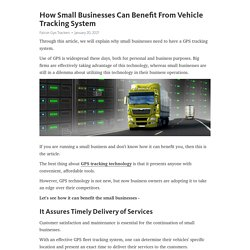 How Small Businesses Can Benefit From Vehicle Tracking System
