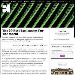 The 20 Best Businesses For The World