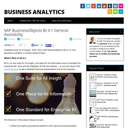 SAP BusinessObjects BI 4.1 General Availability