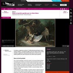 Butor et perdrix gardés par un chien blanc. Oudry. 1747.