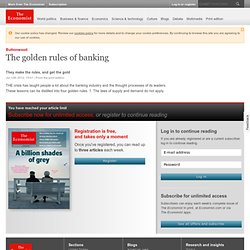 Buttonwood: The golden rules of banking