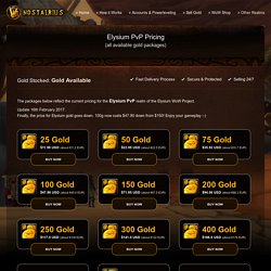 Buy Gold for Elysium PvP (Nostalrius)