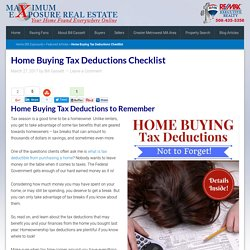 Home Buying Tax Deductions Checklist