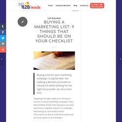 Buying a Marketing List: 9 Things That Should be on your Checklist - Get B2b Leads
