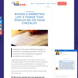 Buying a Marketing List: 9 Things That Should be on your Checklist - GetB2B Leads