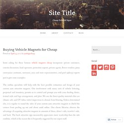 Buying Vehicle Magnets for Cheap – Site Title