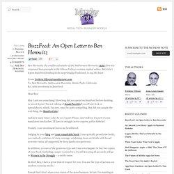 BuzzFeed: An Open Letter to Ben Horowitz