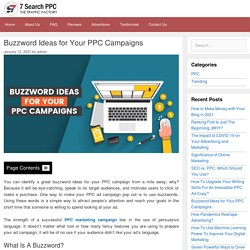 Buzzword Ideas For Your PPC Campaigns - 7Search PPC