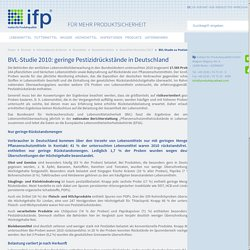 INSTITUT FUR PRODUKTQUALITAT - JUILLET 2012 - BVL-Studie 2010: geringe Pestizidrückstände in Deutschland
