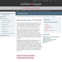 Bystander Intervention - The Challenge – CSB/SJU