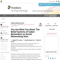 You Are What You Read: The Belief Systems of Cyber-Bystanders on Social Networking Sites