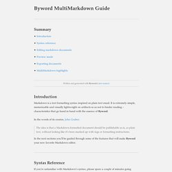 Byword MultiMarkdown Guide