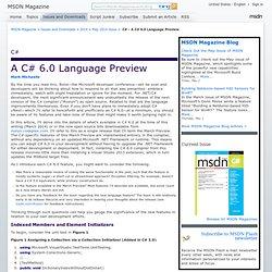 C# - A C# 6.0 Language Preview