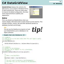 DataGridView Tips and Secrets