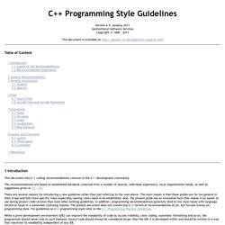 C++ Programming Style Guidelines