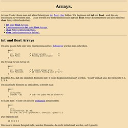 C Referenz -Arrays-