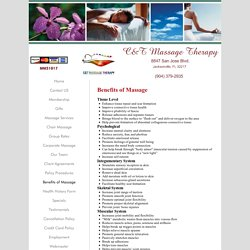 C&T Massage Therapy - Benefits of Massage