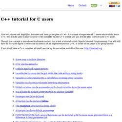 C++ tutorial for C users
