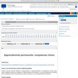 2006 Le competenze chiave per l'apprendimento permanente
