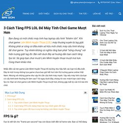 3 Cách Tăng FPS LOL Để Máy Tính Chơi Game Mượt Hơn