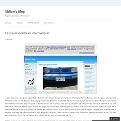 C'est quoi le cache en informatique? « Aldian's Blog