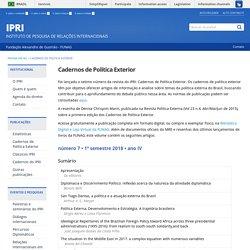 Cadernos de Política Exterior - IPRI