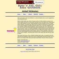 Animal Nicknames