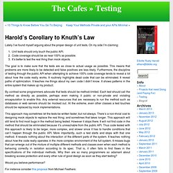 Harold's Corollary to Knuth's Law