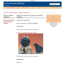 Cahier de textes de la 2nde euro (SVT / Anglais) - Lycée Romain Rolland