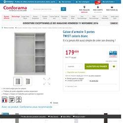 Caisse d'armoire 3 portes TWIST coloris blanc - Vente de Armoire