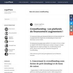 Bons de caisse crowdfunding - LegalPlace