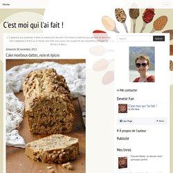 Cake moelleux dattes, noix et épices