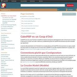 CakePHP en un Coup d'Oeil — documentation CakePHP Cookbook 3.x