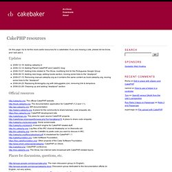 CakePHP resources