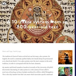 A 10-cakra system from an 800-year-old text — Tantrik Studies