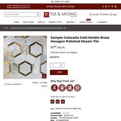 Sample Calacatta Gold Marble Brass Hexagon Polished Mosaic Tile
